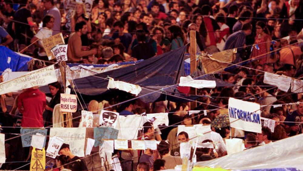 Los acampados en la Plaza de Cataluña