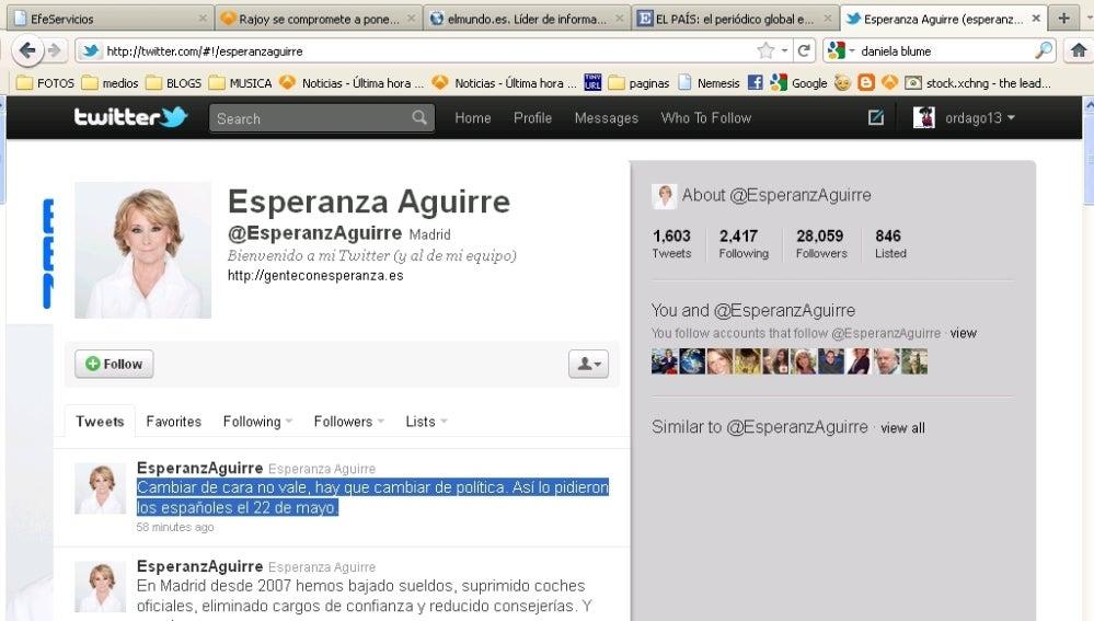 Twitter de Esperanza Aguirre