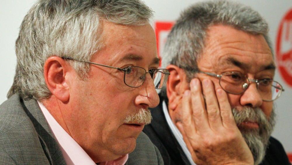 Ignacio Fernández Toxo y Cándido Méndez, en rueda de prensa