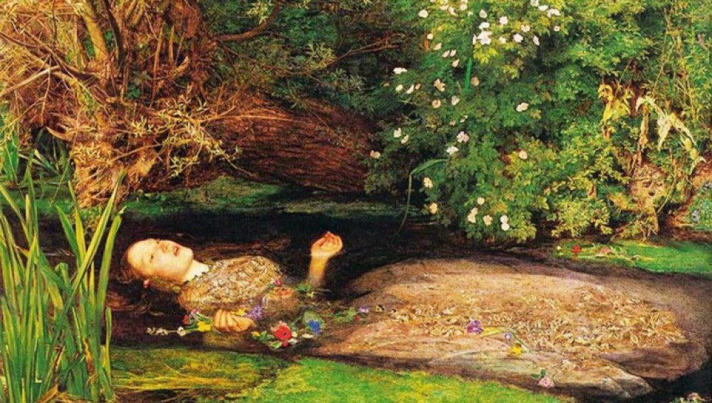 Así imagina el pintor,John Everett Millais, la muerte de Ofelia.