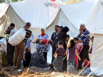 Refugiados en la frontera entre Turquía y Siria