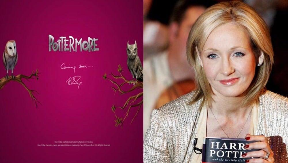 La escritora J.K.Rowling junto a la web promocional de su nuevo proyecto.