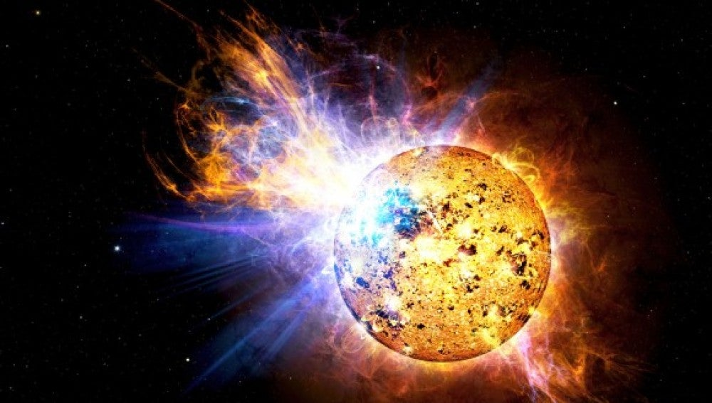 Erupción solar de una estrella