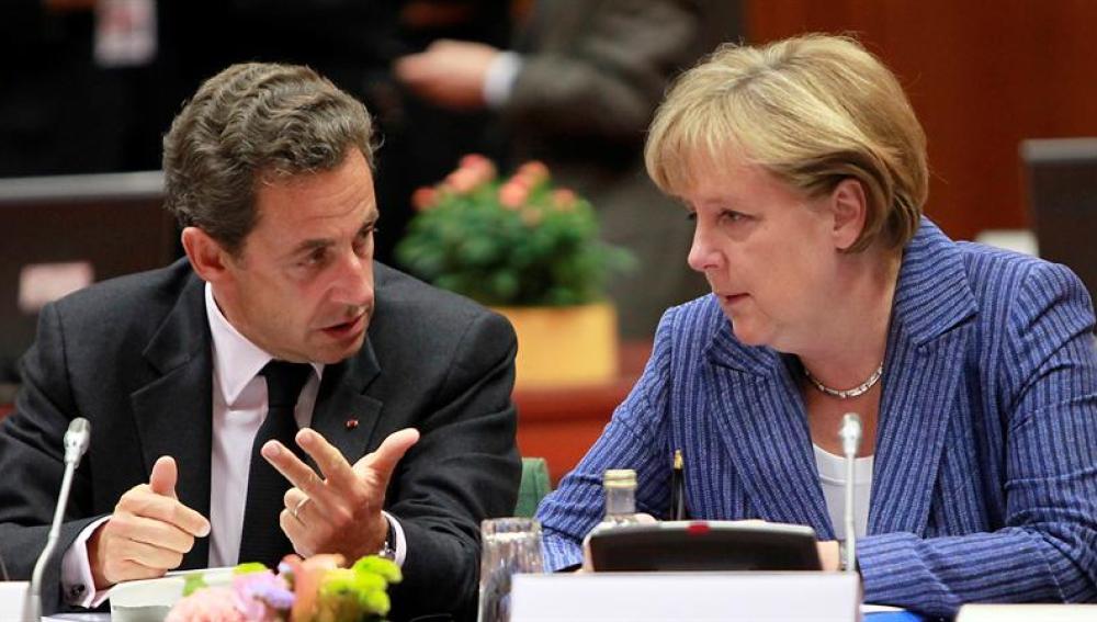 Merkel y Sarkozy en Bruselas