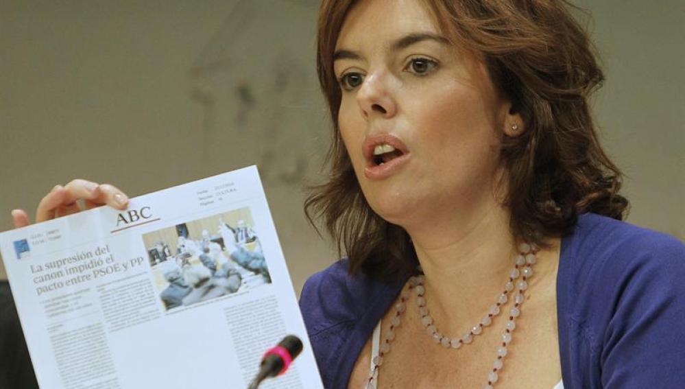 La portavoz del grupo parlamentario popular en el Congreso de los Diputados, Soraya Sáez de Santamaría