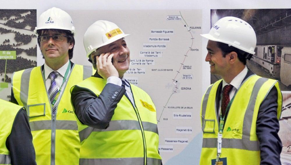 El ministro de Fomento, José Blanco, durante el acto de calado del túnel urbano Girona II.