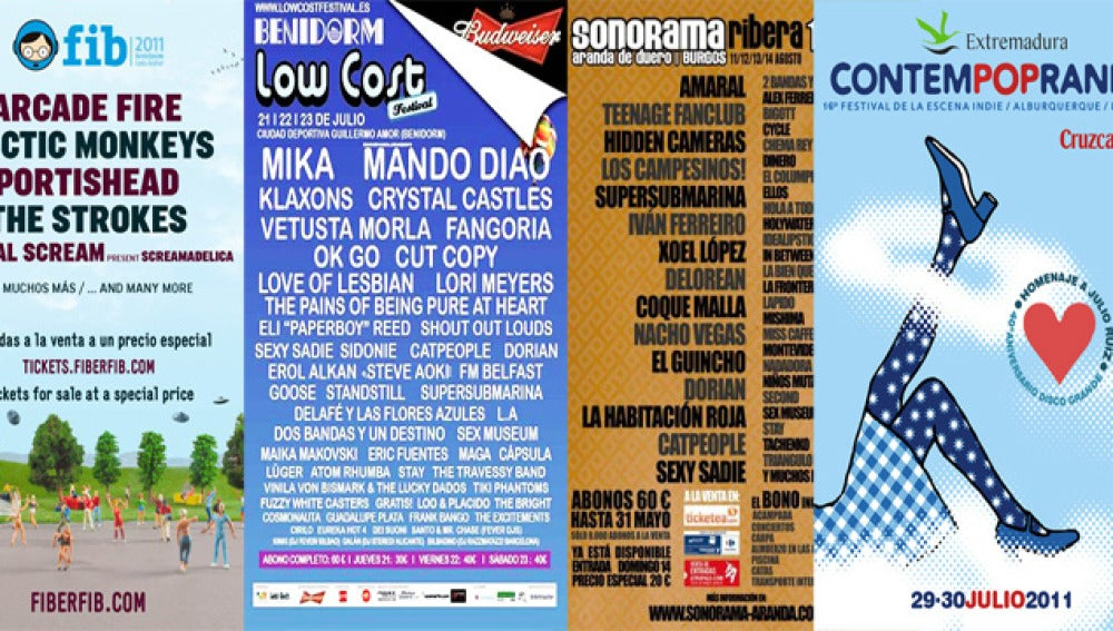 Carteles promocionales de algunos de los festivales que no te puedes perder este verano.