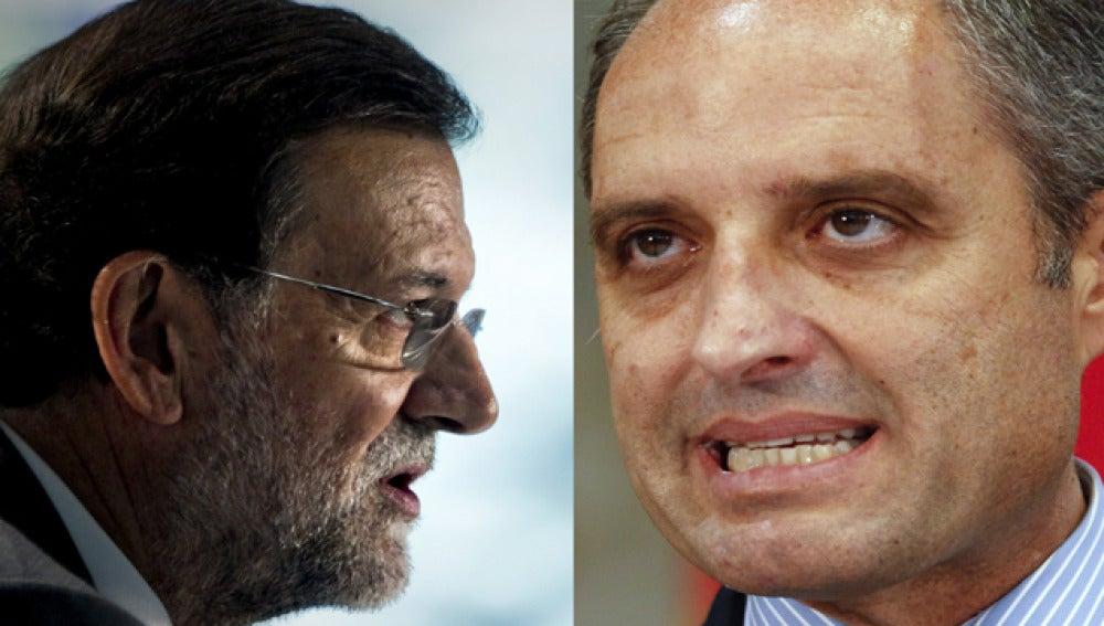 Mariano Rajoy, líder del PP, y el ex presidente valenciano, Francisco Camps.