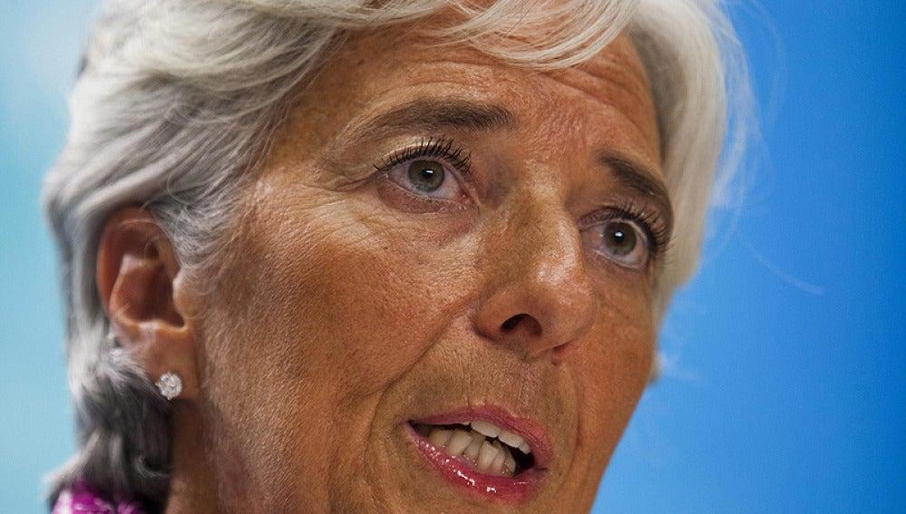 Christine Lagarde, directora del FMI, en una comparecencia pública.