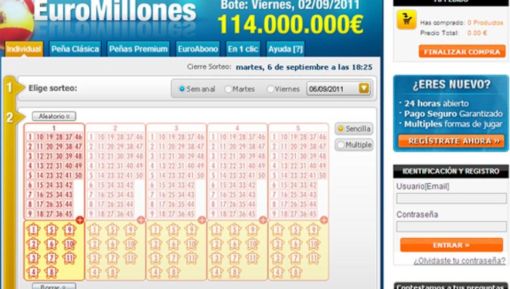 Participación de Euromillones en Internet