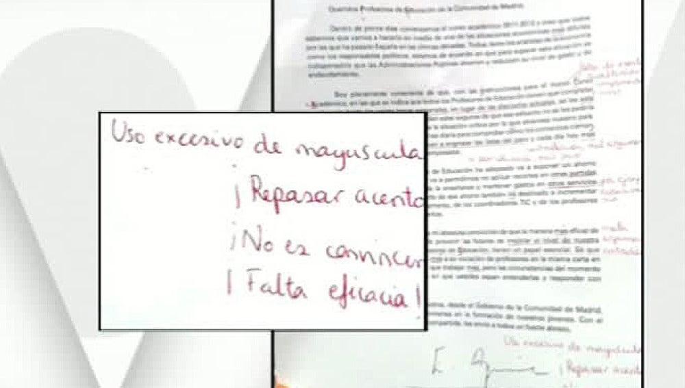 La carta de Aguirre corregida por los profesores