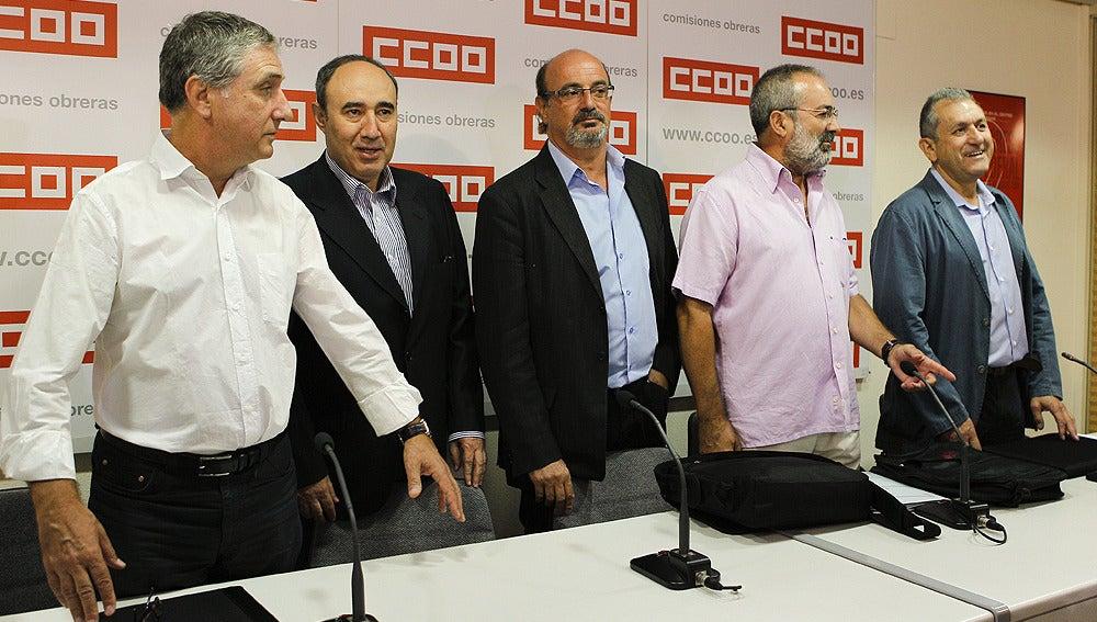 Líderes sindicales en la rueda de prensa