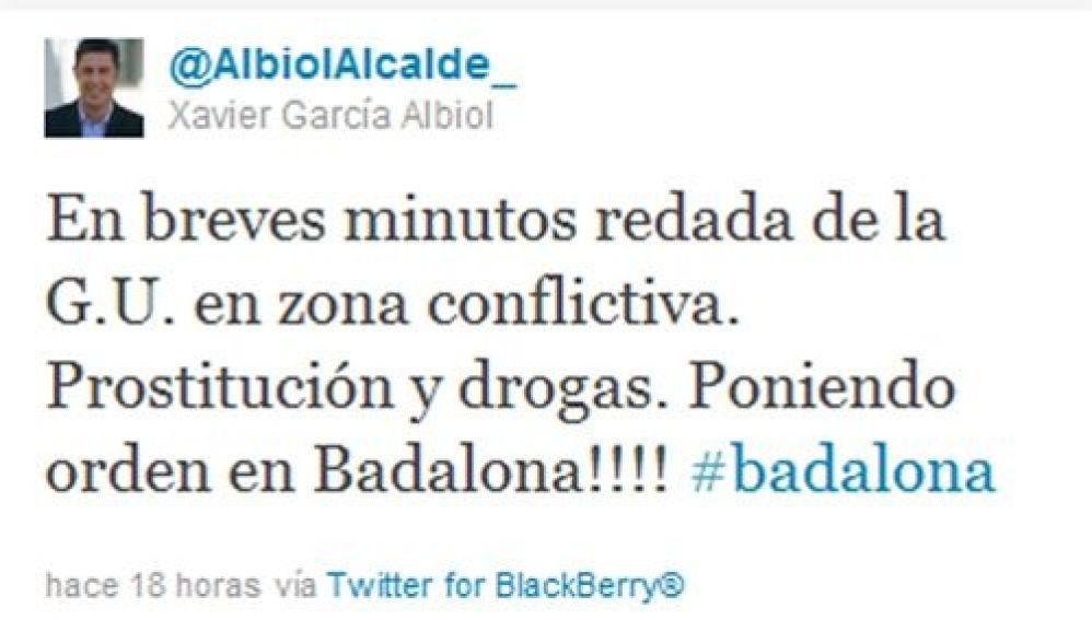 El alcalde de Badalona anticipa en Twitter una redada policial