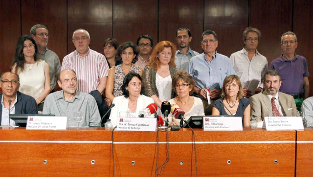 Los delegados del sindicato Metges de Catalunya y representantes de la juntas clínicas