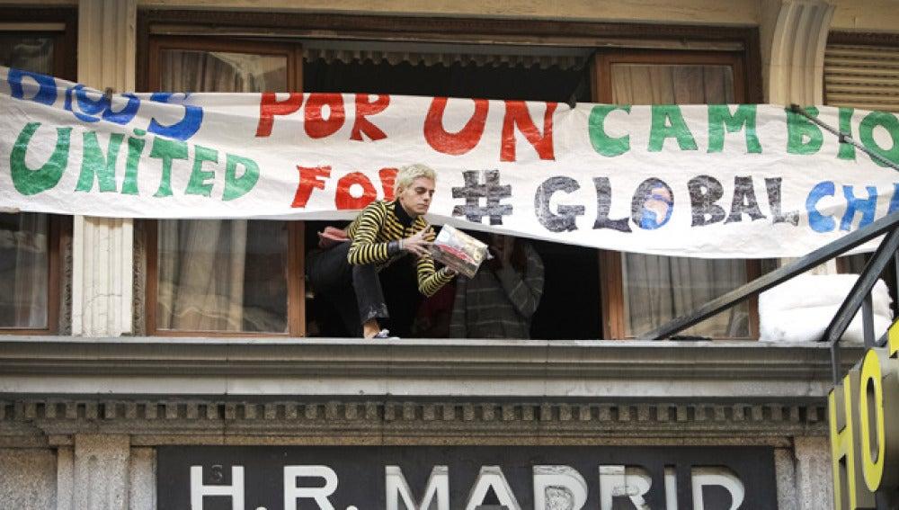 El hotel ocupado por los indignados en Madrid