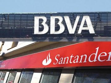 Fachadas del BBVA y Banco Santander