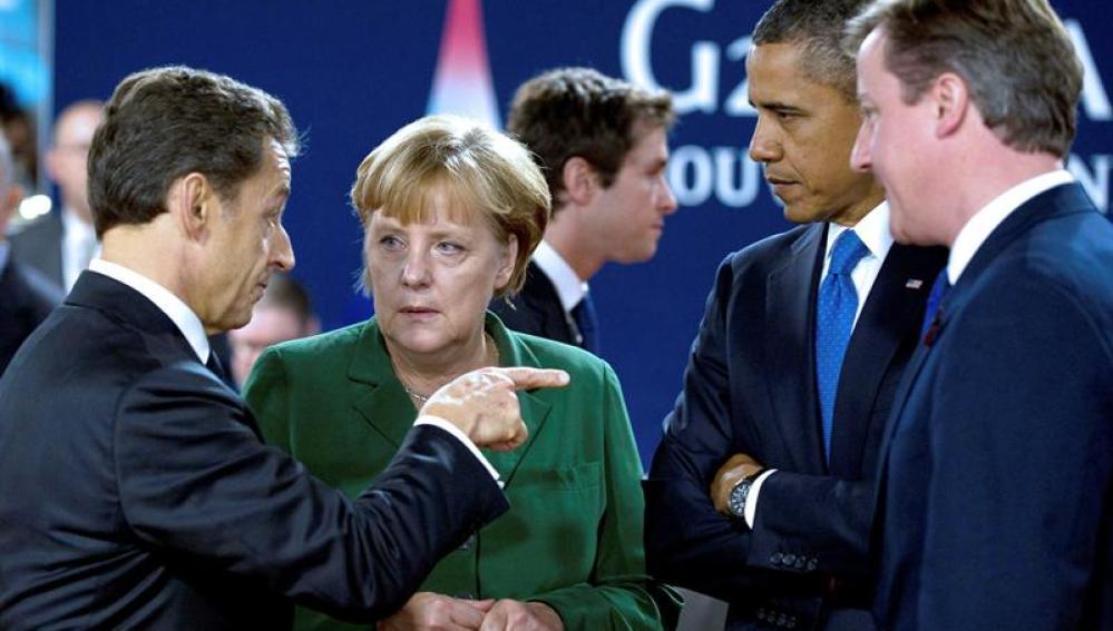 Merkel, Sarkozy, Cameron y Obama en Cannes
