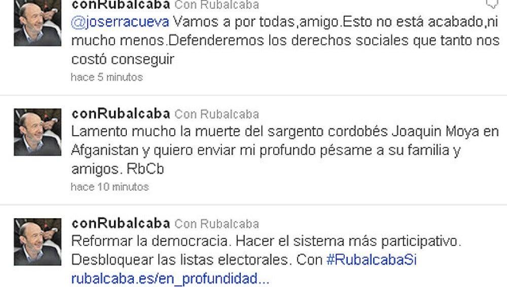 'Tuit' de Alfredo Pérez Rubalcaba lamentando la muerte del soldado de Afganistán