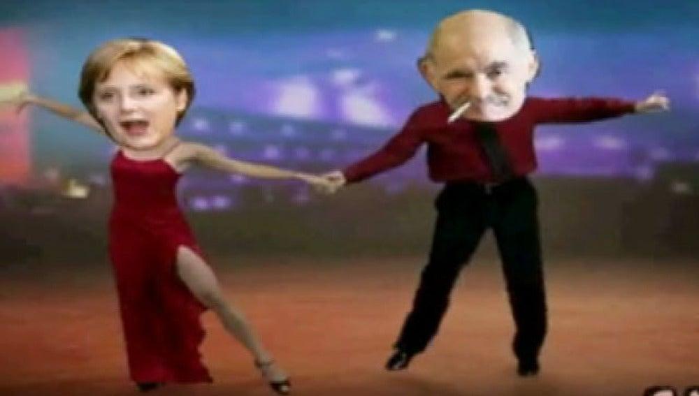 Angela Merkel 'baila' con Papandréu