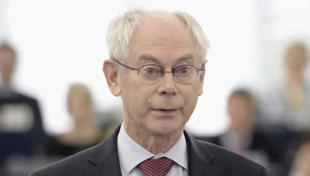 Herman Van Rompuy durante su intervención en el debate del Parlamento Europeo