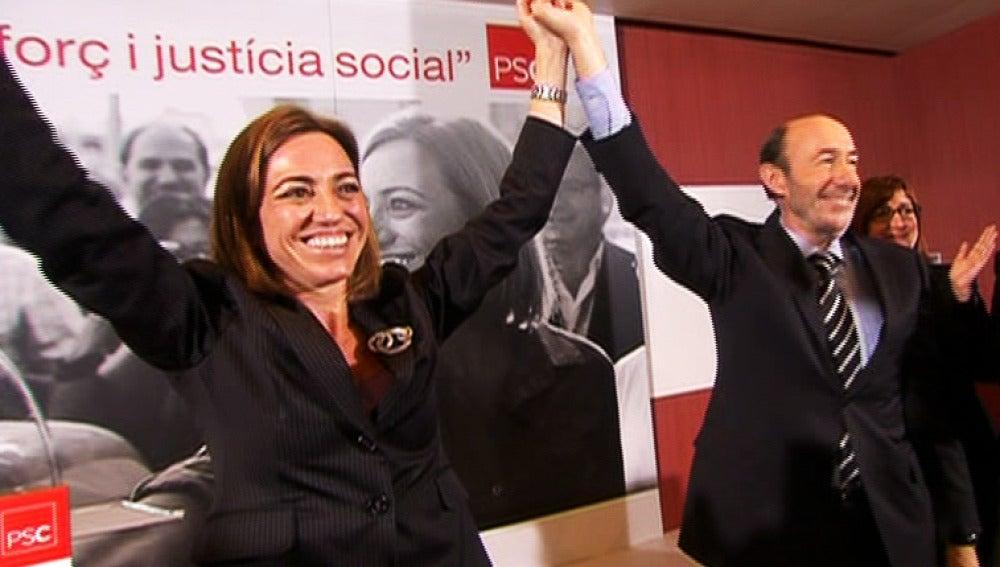 Rubalcaba y Chacón en un acto del PSOE.