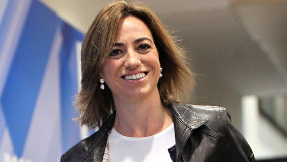 Carme Chacón en la sede del PSOE