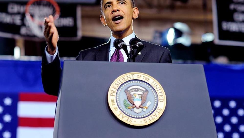 Obama durante un mitin