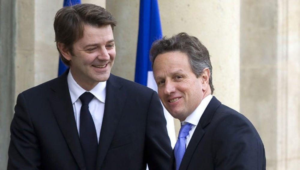 Francois Baroin junto al secretario del Tesoro de EEUU, Timothy Geithner