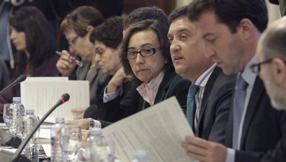 Rosa Aguilar durante una reunión del Consejo Europeo