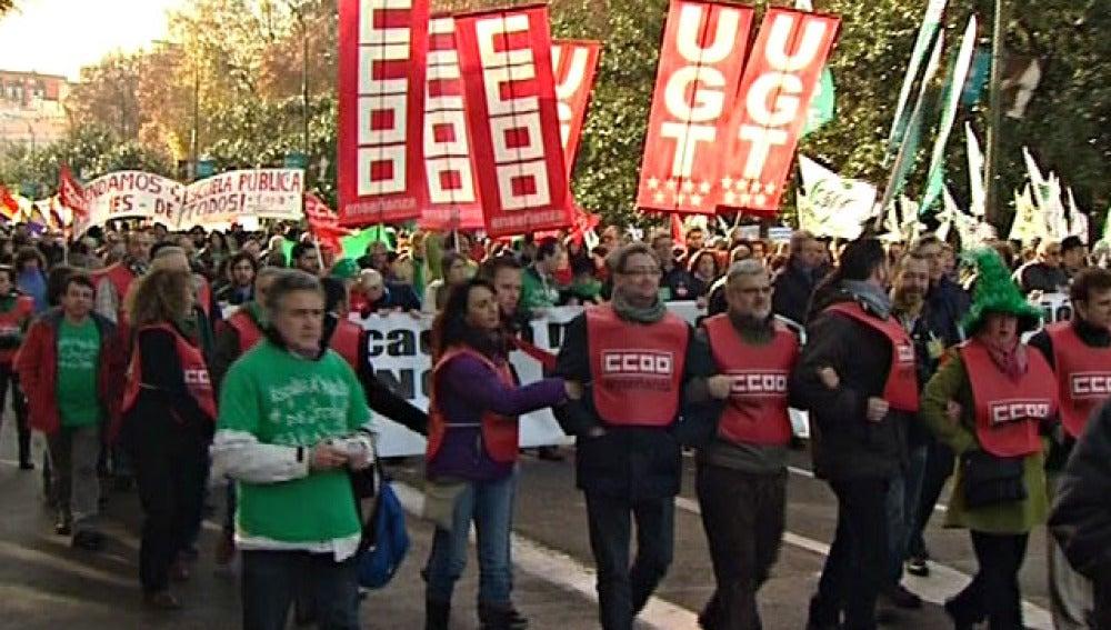 Profesores en una manifestación de Madrid