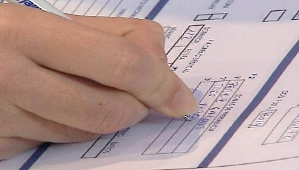 Rellenando un formulario de Hacienda