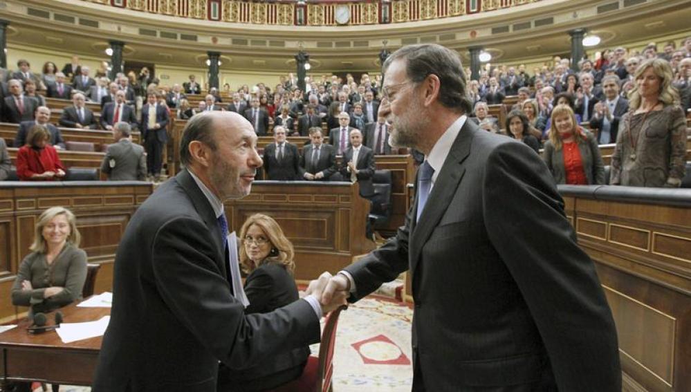 El presidente del grupo socialista en el Congreso de los Diputados, Alfredo Pérez Rubalcaba
