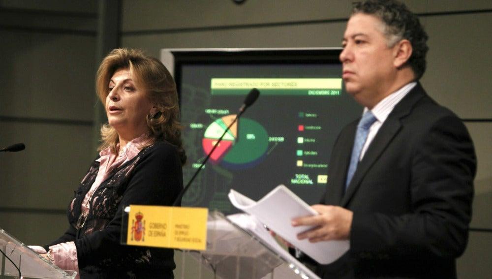 l secretario de Estado de la Seguridad Social, Tomás Burgos, y la secretaria de Empleo, Engracia Hidalgo