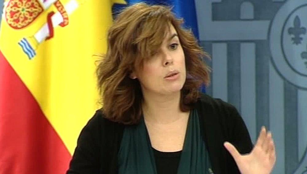 Soraya Sáenz de SantaMaría, en la rueda de prensa posterior al Consejo de Ministros
