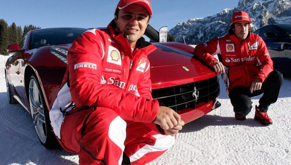 Felipe Massa junto a Fernando Alonso