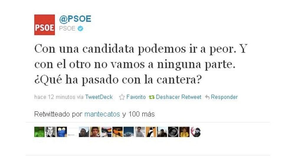 Un 'hacker' ataca la cuenta del PSOE en twitter con críticas a los candidatos