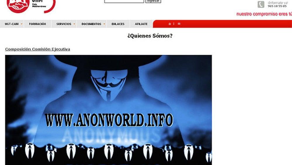 Imágen de 'Anonymous' en la web de UGT