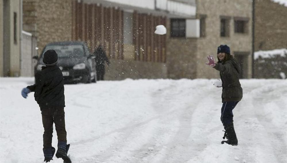 Primera nevada en Villafranca de Castellón