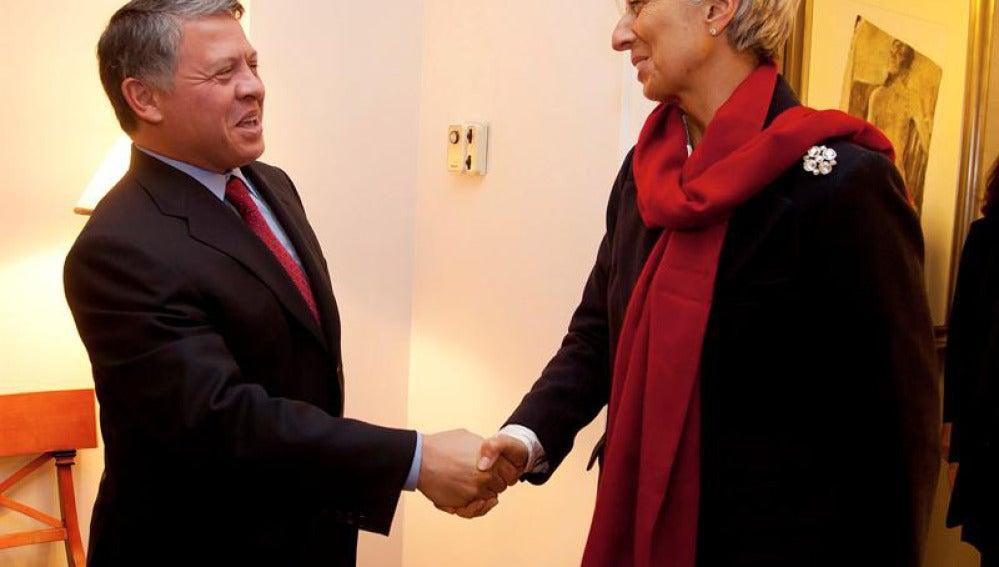 Lagarde, presidenta del FMI, con el rey Abdalá de Jordania