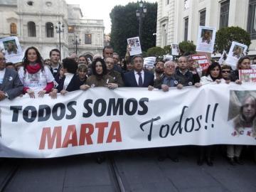 Manifestación en Sevilla en el tercer aniversario de la muerte de Marta del Castillo