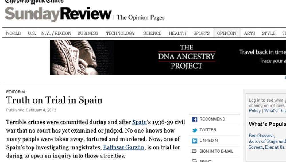 """Editorial del New York Times """"La verdad, a juicio en España"""""""