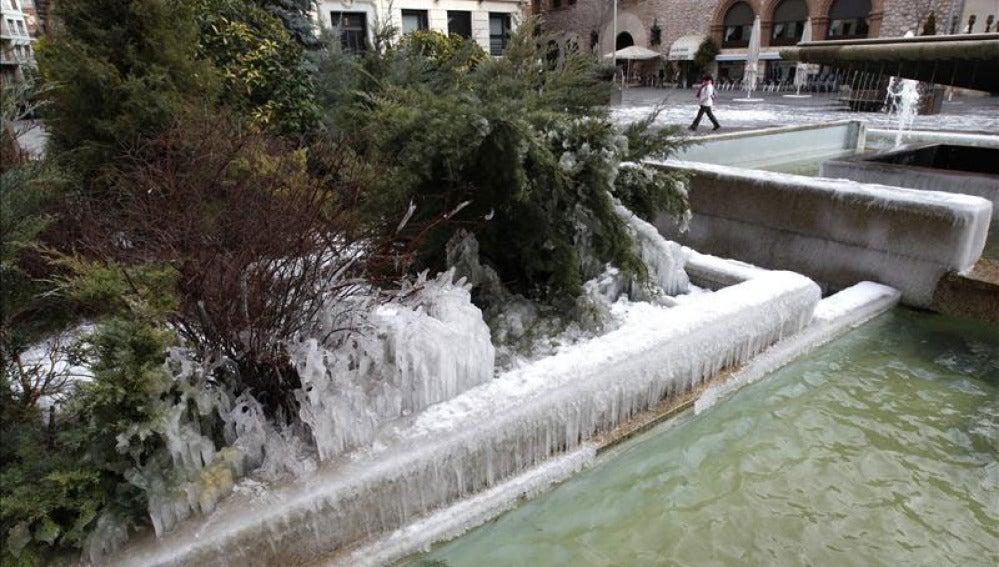 Una fuente congelada en Teruel