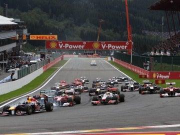 Vettel en carrera en circuito de Bégica
