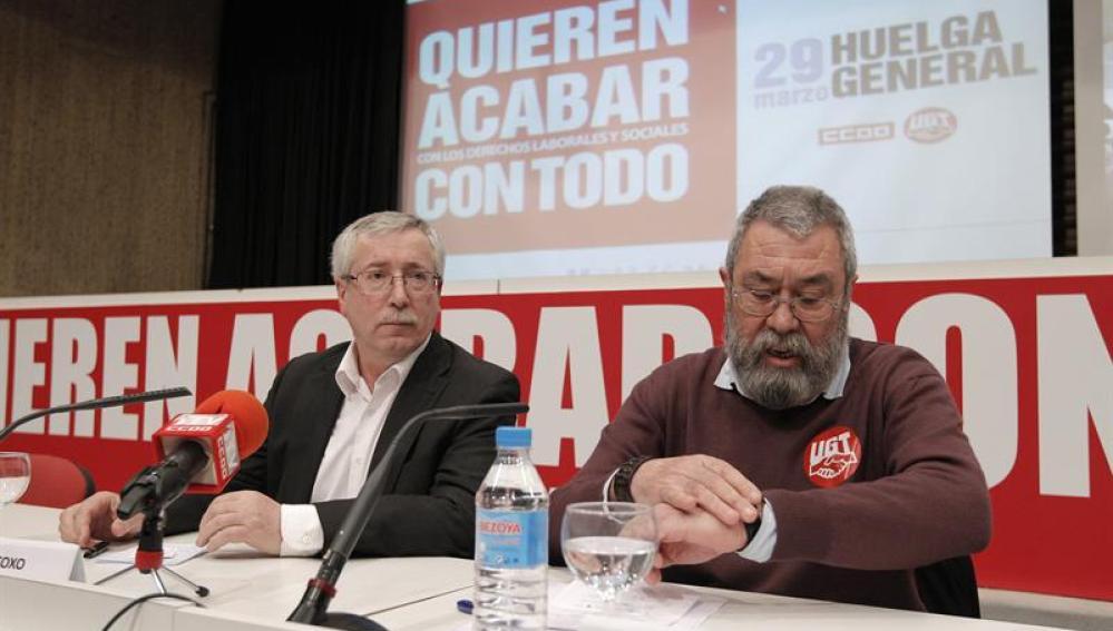 Los secretarios de CCOO y UGT, Ignacio Fernández Toxo y Cándido Méndez