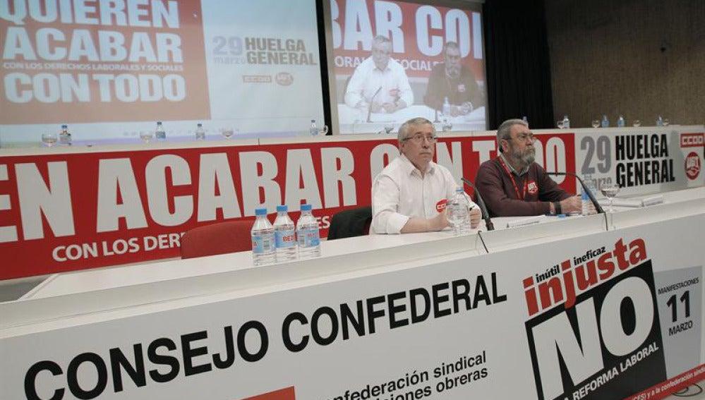 Toxo y Méndez anuncian la huelga del 29 de marzo