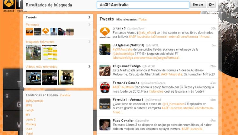 El hashtag #A3F1australia ha vuelto a ser por segundo día consecutivo la tendencia en España