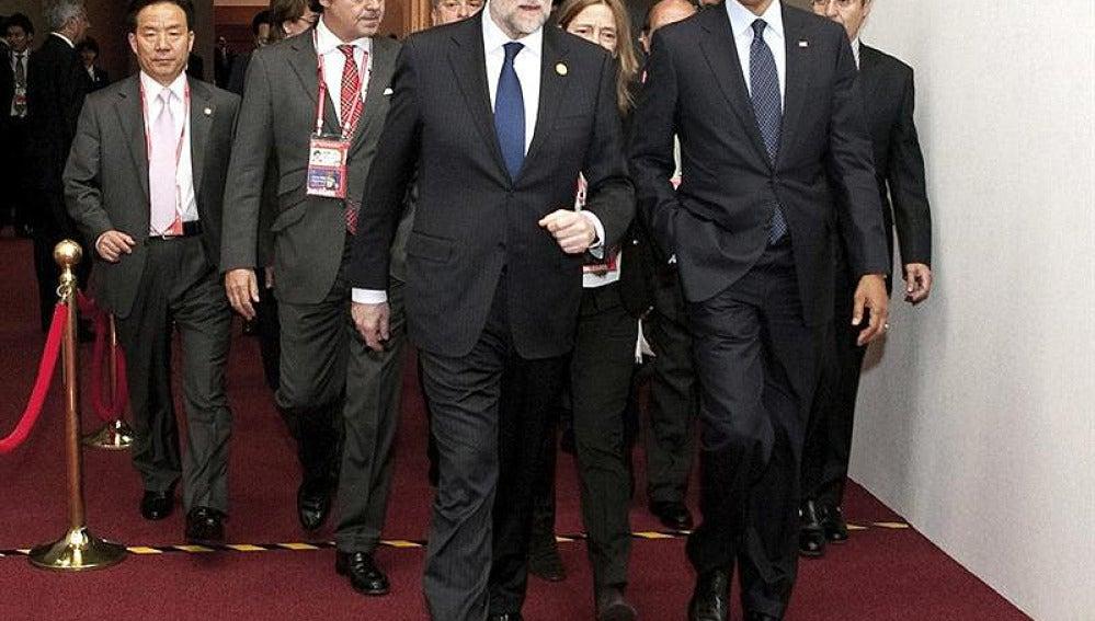 Obama junto a Mariano Rajoy en Seúl