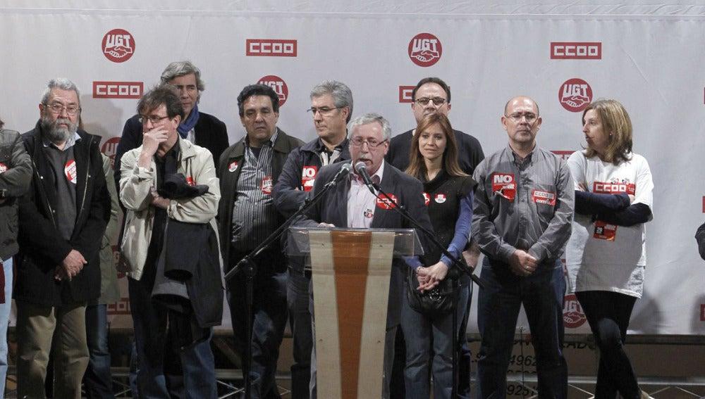 El secretario general de CCOO, Ignacio Fernández Toxo se dirige a los asistentes al acto