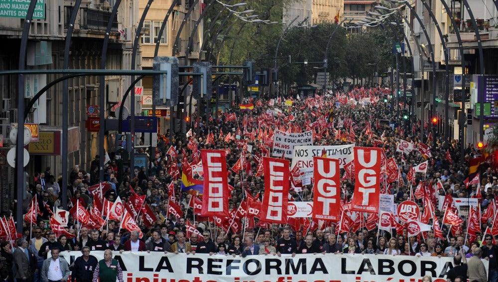Manifestación en la Gran Vía de Murcia