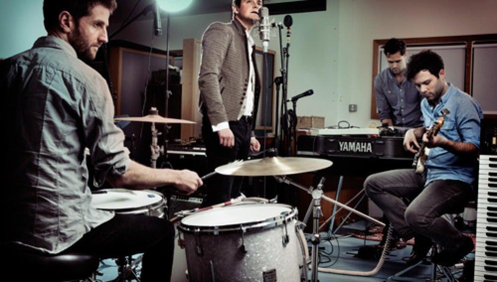 El grupo Keane en su estudio de grabación